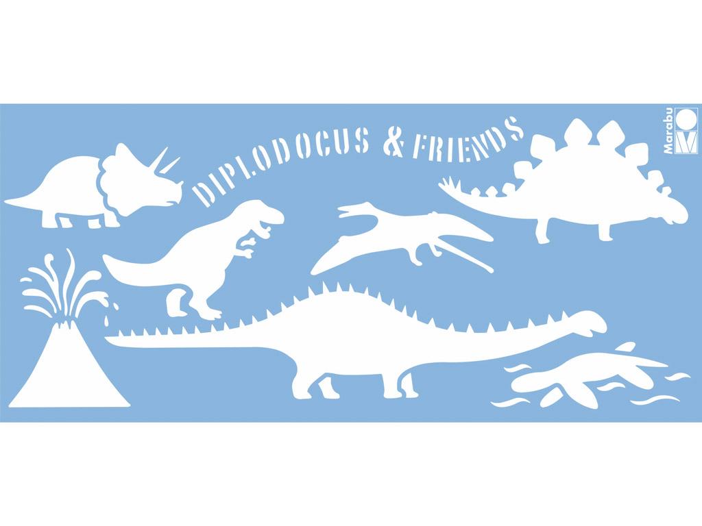 Šabloon Marabu 15x33cm Dinos