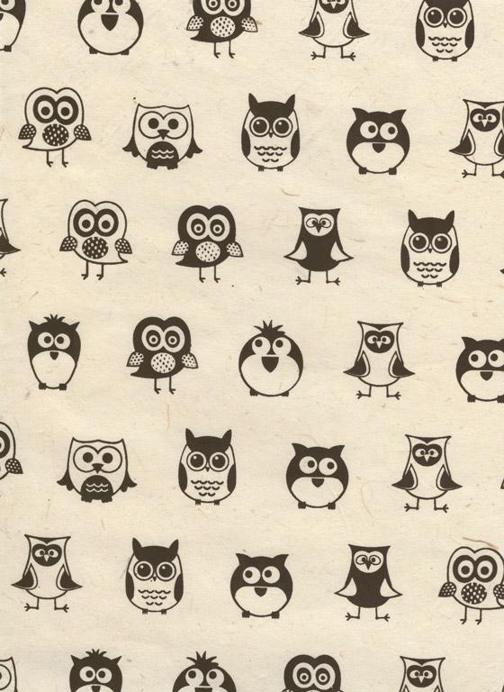 Lokta Paper A4 Owl Black on Natural