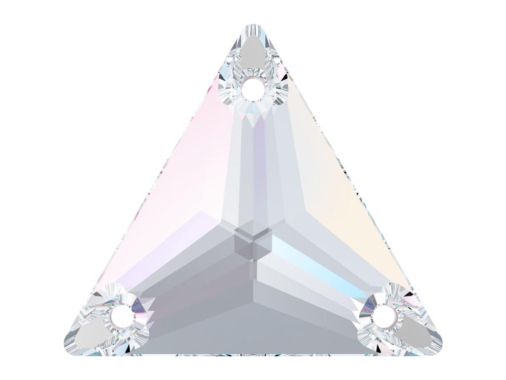 Krištolo karoliukai siuvinėjimui Swarovski trikampis 3270 16mm 001AB crystal aurore boreale
