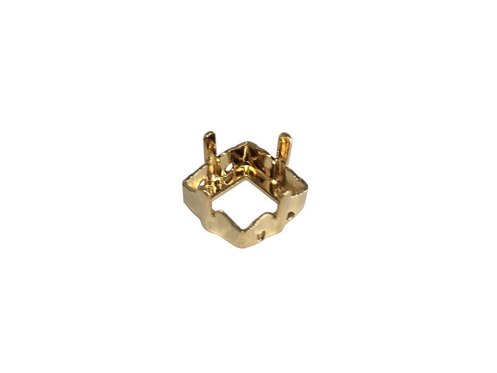 Kristalo apkaba Swarovski kvadratas 4428/S 8mm auksinė su 4 skylutėm