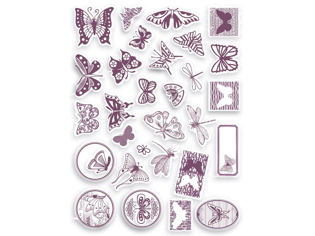 Tempel Aladine Stampo Scrap 29tk Butterfly + templipadi must