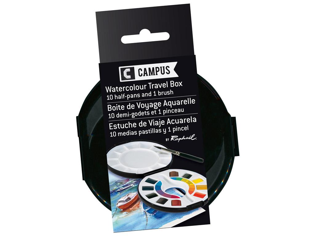Akvareliniai dažai Campus Travel Box 10x1/2 kubelių+teptukas