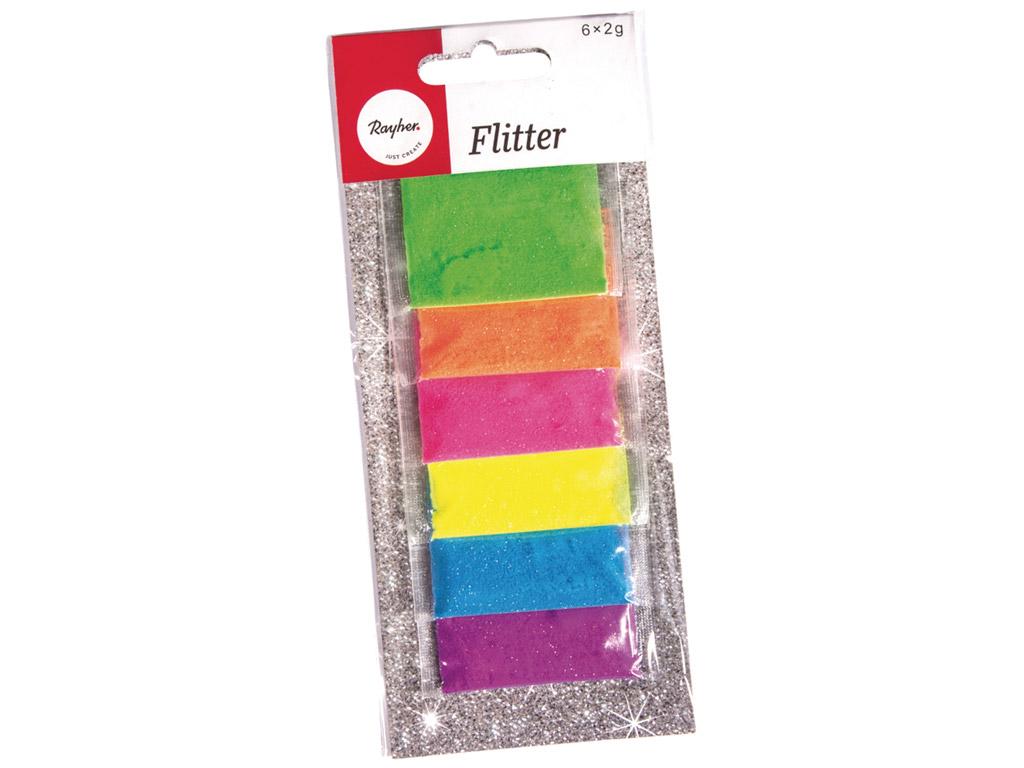 Glitter Rayher 6x2g 6 värvi assortii neoon