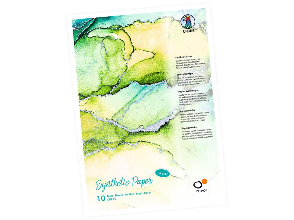 Sünteetilise paberi plokk Ursus Yupo A3/192g 10 lehte