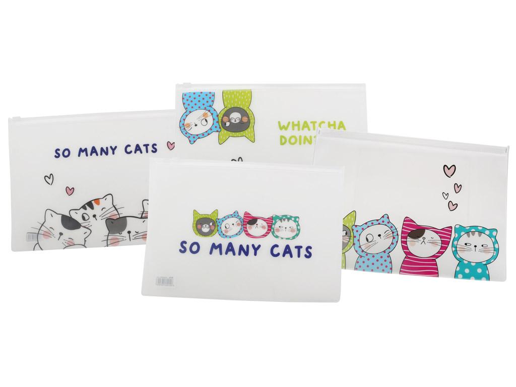 Ümbrik lukuga M&G So Many Cats A5 läbipaistev assortii